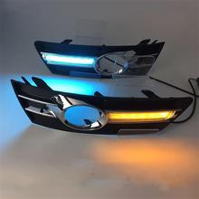Car Flashing led DRL daytime running light For 9-13year Volkswagen CC Blue Day Lights fog lamp hole cover function Signal light new dimming style relay waterproof 12v led car light drl daytime running lights with fog lamp hole for mitsubishi asx 2013 2014