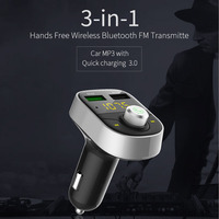 Bluetooth Car Kit Hands Free Wireless Bluetooth FM Transmitter Support U Disk Music MP3 Player Dual