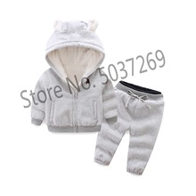 BibiCola infant children girl clothing set winter warm toddler clothes thicken sweatshirt cartoon cartoon baby coat pants set цены
