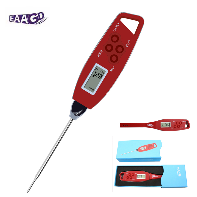EAAGD Waterproof Instant Read Meat BBQ Thermometer - Super Fast 4Second Red Digital Food Cooking