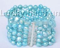 8 6row 7 8mm Baroque Blue Sky Beads Bracelet Magnet Clasp>>> women jewerly Free shipping
