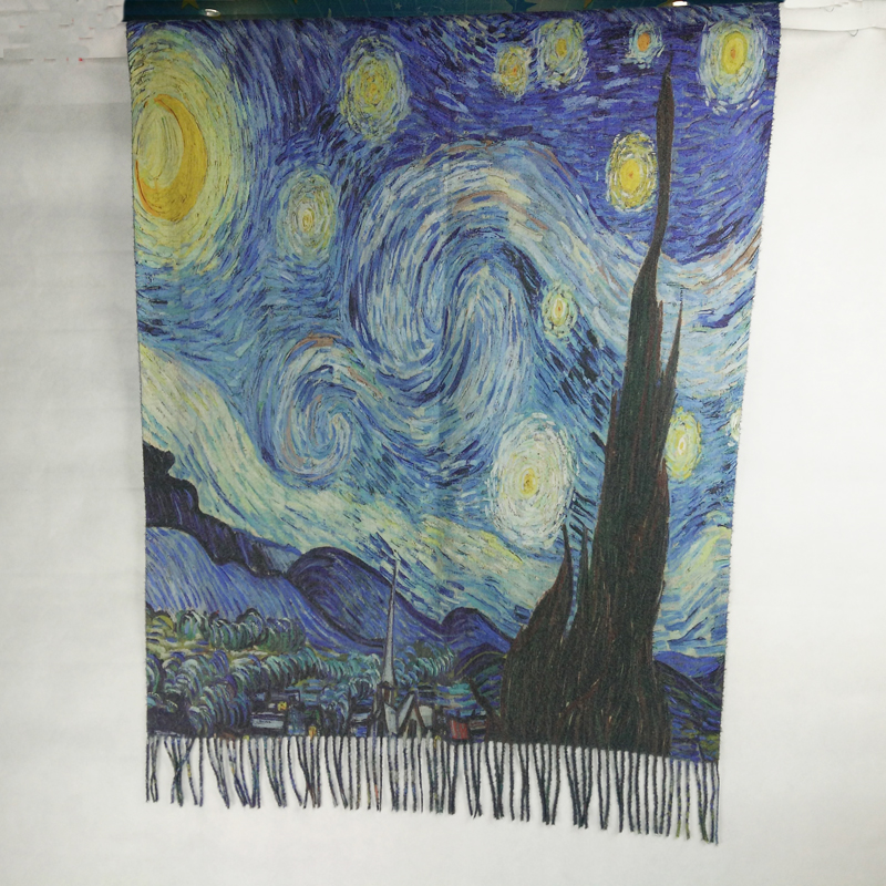 Spain Fashion Women Winter Designer KlimtVan Gogh Oil Painting Cashmere Scarf Shawls Foulard Bandana Women Wraps Scarfs LL180828