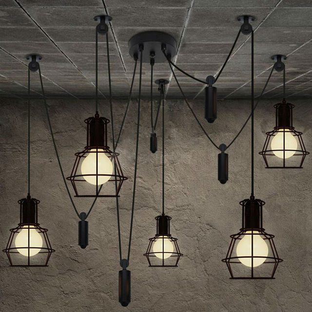loft industrial style diy lifter iron cage pendant lights bar
