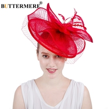 BUTTERMERE Red Fedora Hats Women Linen Wedding Net Hat Female Mesh Elegant Party Solid Feather Bride Ladies For Church