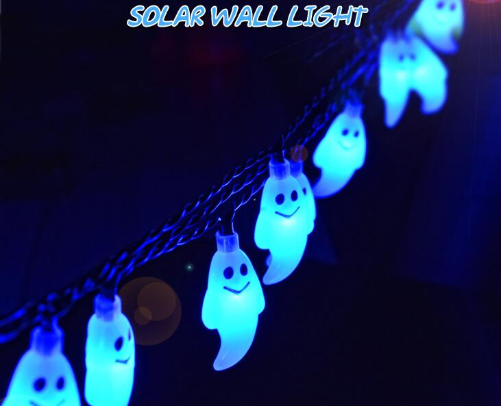 6m 30 led christmas lights outdoor solar halloween lamp ghost string light decoration for garden - Solar Halloween Decorations