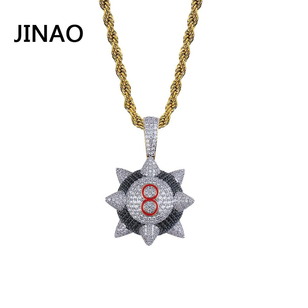 JINAO New Iced out Pendant Necklace Hip hop Jewelry Number8 ball Necklace Gold Color Cubic Zircon