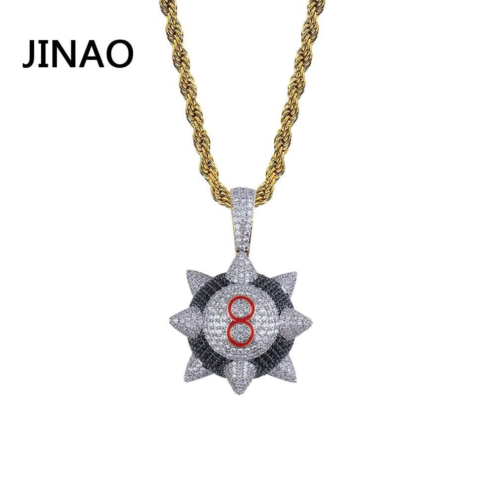 JINAO nouveau collier pendentif glacé bijoux Hip hop numéro 8 collier boule couleur or Zircon cubique hommes femmes cadeau