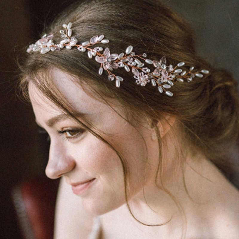 Flower Bride Hair Vine Pearl Wedding Combs Tiaras Headband Crystal  Bridesmaid Headdress Beads Bridal Headpiece For 5cb832cec80c