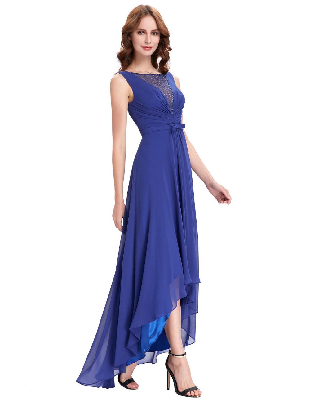 High Low Royal Blue Chiffon Short Front Long Back Bridesmaid Dress 4