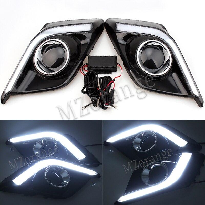 Newest 12V 6000k LED DRL Daytime running light for Mazda3 Mazda 3 Axela 2014 2015 2016 fog lamp frame Fog light Car styling