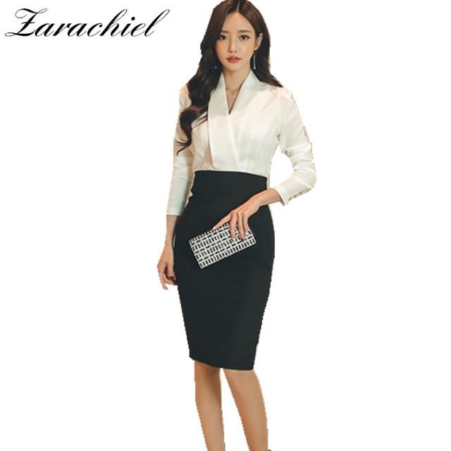 78bb497b6f Zarachiel otoño 2019 mujeres trabajo Formal vestido de blanco negro  elegante Patchwork Sexy cuello en V
