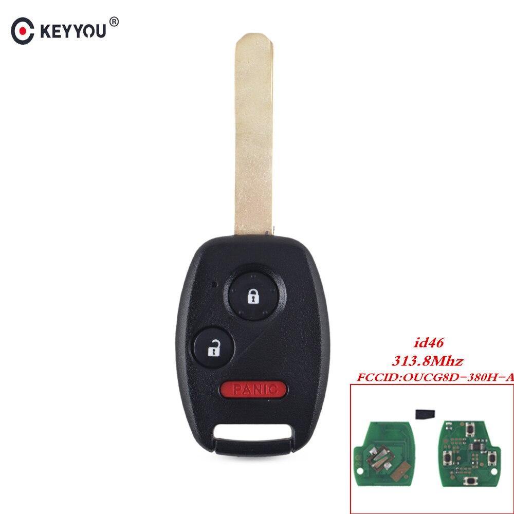Keyyou entrada do carro remoto chave 3 botões 313.8 mhz com id46 chip OUCG8D-380H-A fob para honda accord caber civic odyssey 2003-2007