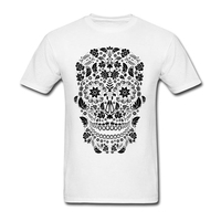 Costume Crewneck Adult Tee Shirts Geek Male Day of the Dead Skull No6 Natural Cotton Novelty Tee Shirts