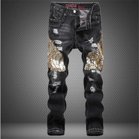 2017 New Mens Jeans Male Eagle Wings Embroidery Stitching Sequins Hole Jeans Slim Pants Tide Mens