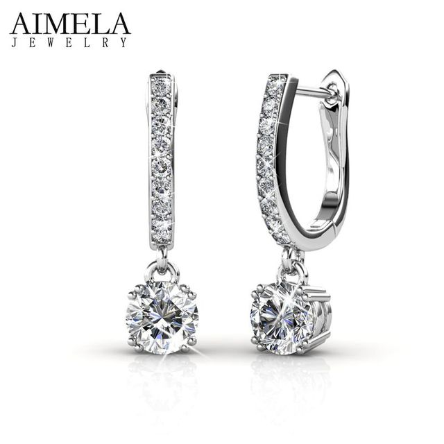 AIMELA Top Quality Noble CZ White Gold Plated Hoop Earrings Pave AAA Zircon Austrian Crystal Earrings For Women SWA Element