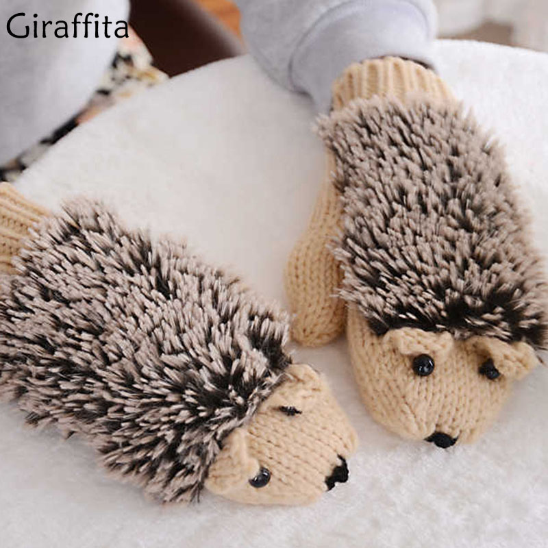 Winter Warm Plush Gloves Fluffy Hedgehog Animal Paw