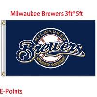 Milwaukee Brewers Mỹ Major League bóng chày (MLB) Cờ 3ft * 5ft