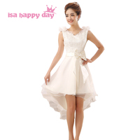 Latest Design V Neck Bridal Ivory Tulle High Low Knee Length Homecoming Gown Dress Short Front
