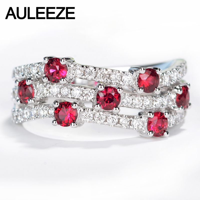 AULEEZE Natural Ruby Diamond Wedding Band Real 18K Solid White Gold 0.68cttw Ruby Ring Twist Band Gemstone Jewelry For Women