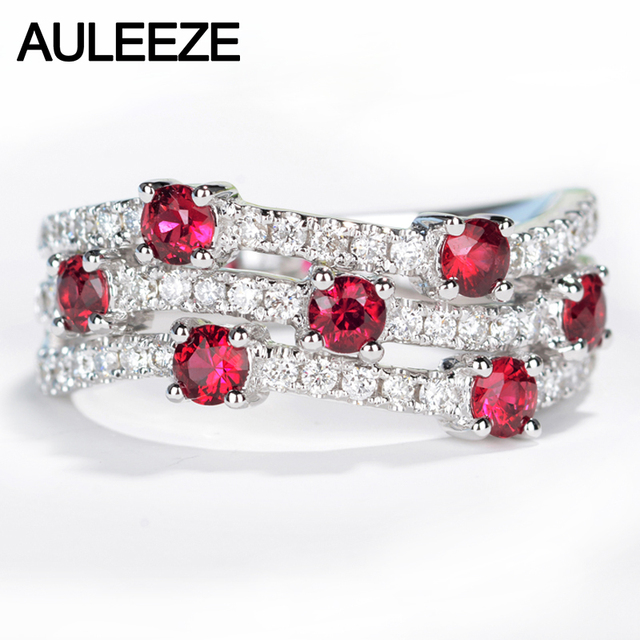 AULEEZE Natural Ruby Diamond Wedding Band Real 18K Solid White Gold