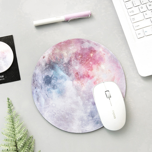 Planets and Stars Patterned Round Rubber Mouse Pad