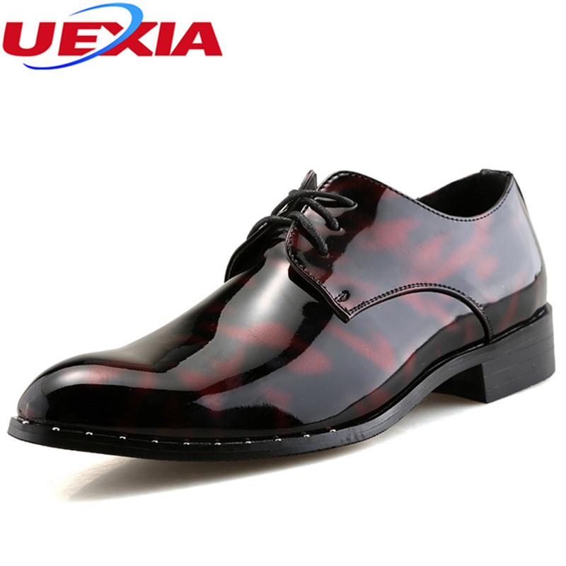 UEXIA New Designer Quality Bright Patent Leather Man Formal Party Oxford Lace Up Pointed Toe Flats Wedding Men Dress Brown Shoes 2016 new fashion formal designer brand man flats genuine leather pointed toe derby lace up dress height increasing shoes mgs1049