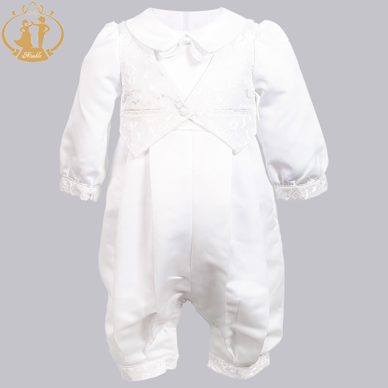 Image 5 - Nimble Baby Boys Christening Gowns Satin Formal Occasion Boys Romper newborns clothes Ivory Kids Baptism Dresses 0 12M-in Clothing Sets from Mother & Kids