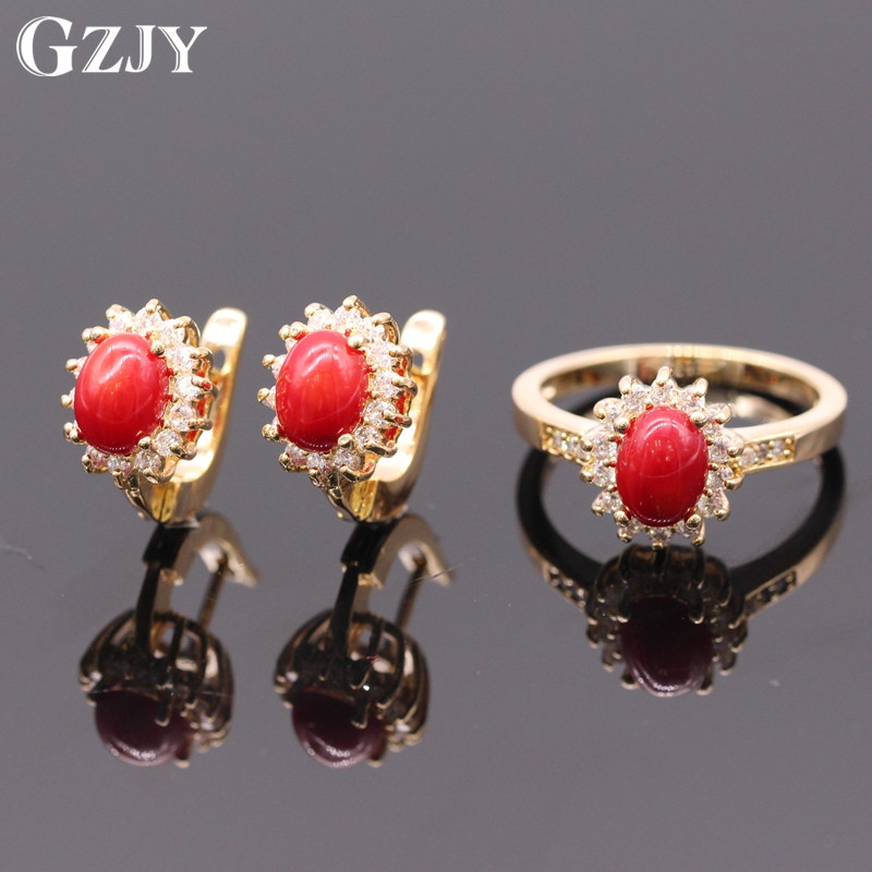 GZJY New Fashion Red Coral Rock AAA Cubic Zircon Champagne Gold Color Flower Earrings Ring Jewelry
