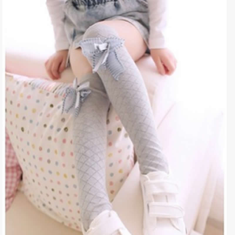 Cute Children's Knee High Socks For Toddlers Kids Baby Girls Solid Bow-knot Cotton Princess Dress Ballet Long Sock Leg Warmer