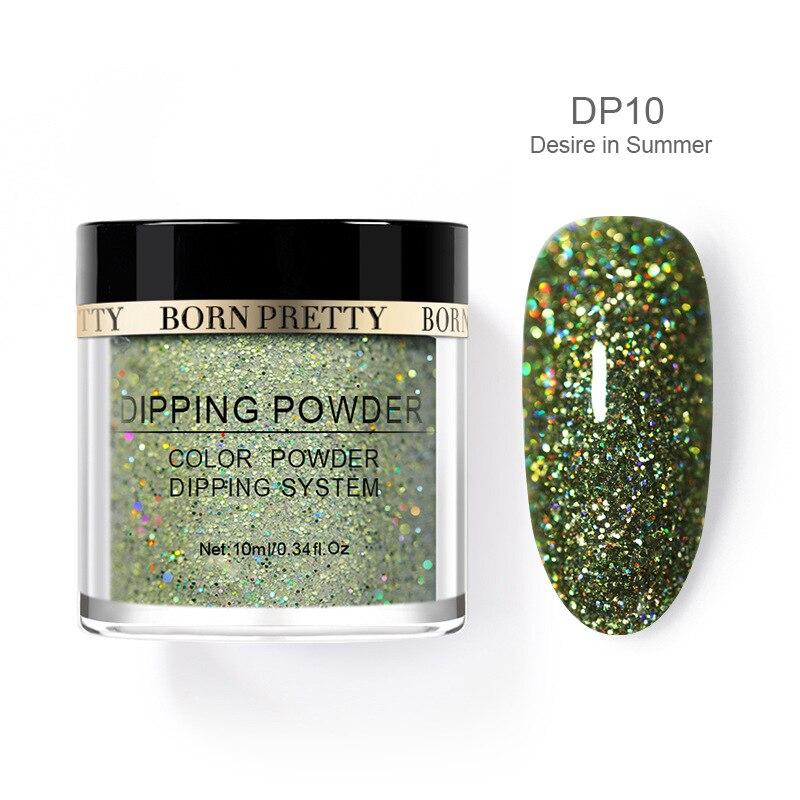 Born pretty, голографическая погружение порошки для ногтей градиент окунания блеск украшения длительным, чем УФ гель натуральный сухой без лампы лечения - Цвет: BP-DP10