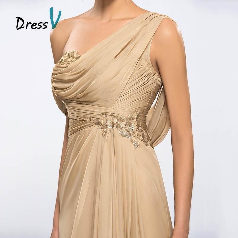 Dressv Billige Champagne Aftenkjoler 2017 Draped One Shoulder Long - Spesielle anledninger kjoler - Bilde 6