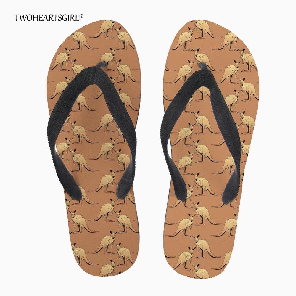 Twoheartsgirl Stylish Printed Kangaroo Flat Slippers Brown -2458