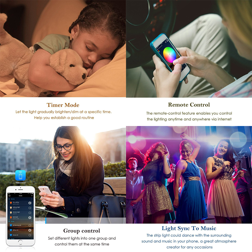 5M WiFi Bluetooth LED Strip DC 12V SMD 5050 Non waterproof Flexible RGB Tape Ribbon Light 5M WiFi Bluetooth LED Strip DC 12V SMD 5050 Non waterproof Flexible RGB Tape Ribbon Light Works With Amazon Alexa Google Assist