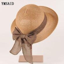 dfaba992e614b Nova Moda Plana Sol Chapéu do Verão das Mulheres arco Chapéus De Palha Para  As Mulheres