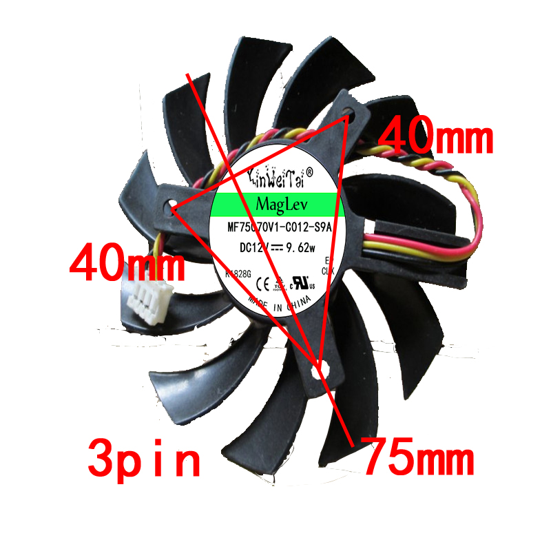 Computer Cooling Fan FOR Gigabyte Geforce GTX 570 630 750TI Graphics Video Card PLD08010S12H DC 12V 0.25A 3Pin