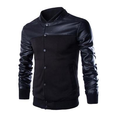 2018 New style Men Fashion Single Breasted Jacket Men Patchwork PU Leather Design Hoodies Sportswear men Baseball Outwear Hoodie