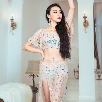 Belly Dance Costume Female Sexy Sequin Apricot Belly Dance Suit Women Professional Oriental Dance Performance Costume DQL1296