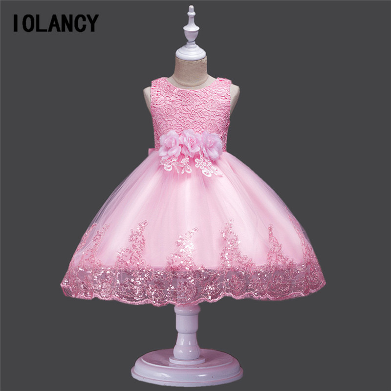 Flower Girls Dress Lace Sequins Children Wedding Party Dresses Kids Evening Ball Gowns Formal Baby Frocks Girl Clothes GDR317 girls long formal dress 2017 flower girls princess dresses kids lace vintage evening party ball gown children s wedding dress