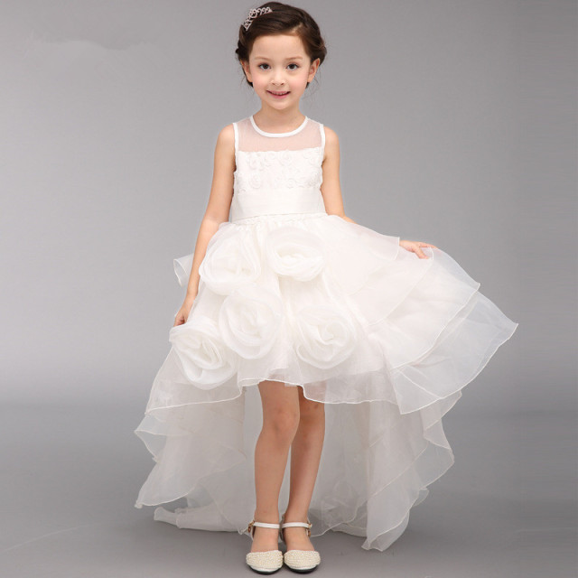 46a6a843a32 2018 Fancy Girls Flower Girl Dress For Wedding Party Fancy Ball White Girls  Party Vestidos For 4 6 8 10 12 14 Year Old RKF184005