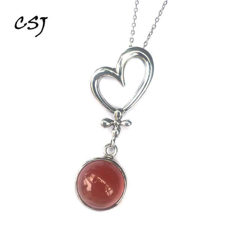 CSJ Natural Red Rhodochrosite Pandent Ruby Emerald Polished Necklace Pendant Fine Jewelry Women Party Wedding