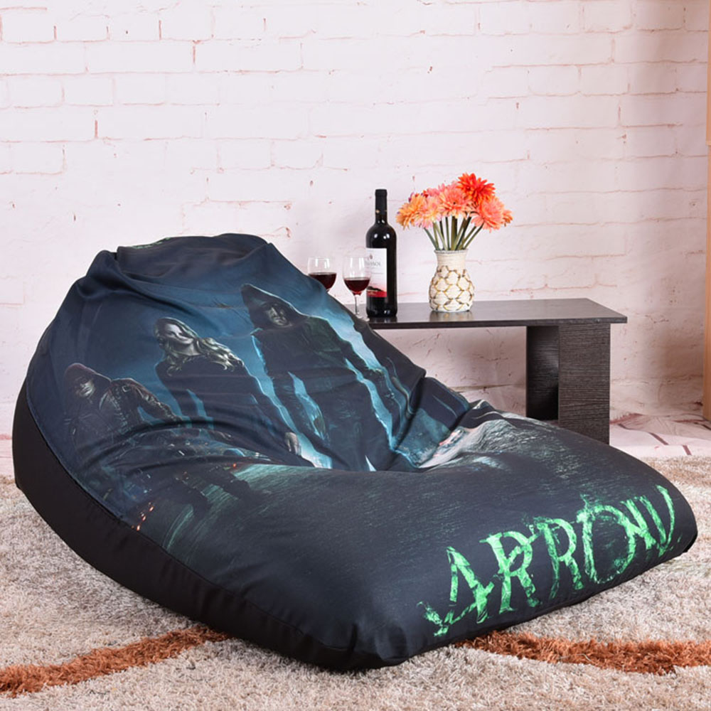 LEVMOON Beanbag Sofa Chair Green Arrow Seat Zac Comfort Bean Bag Bed Cover Without Filler Cotton Indoor Lounge In Living Room Sofas From