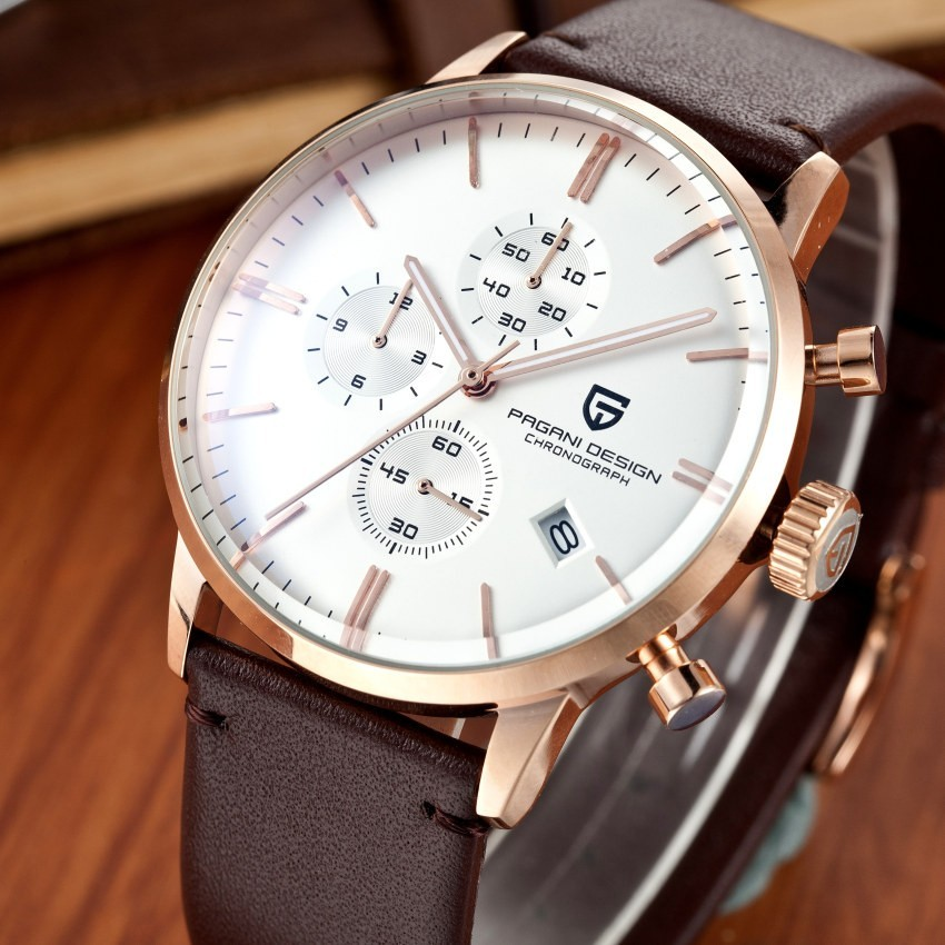 Fashion Chronograph Sports Watches Men Dive 30m Genuine Leather Quartz watch Brand PAGANI DESIGN Male Clock