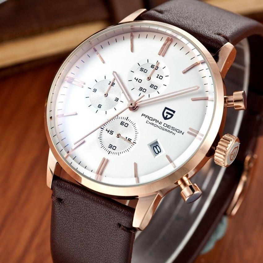 Herrenuhren Kreativ Mode Chronograph Sport Uhren Männer Dive 30 Mt Echtem Leder Quarz-uhr Marke Pagani Design Männlichen Uhr Relogio Masculino GroßEs Sortiment Uhren