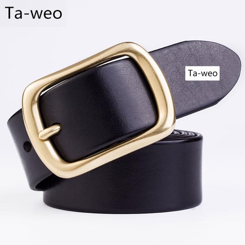 2016 Classic Fashion Copper Pin Buckle Belts Men s 100% Leather Belts Luxury  High Quality Business Man Belt Party Belt 66a618dbab0