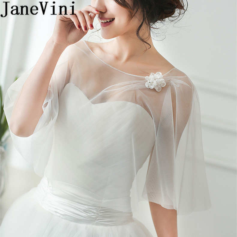 JaneVini High Quality Women Wedding Bolero Cloaks Handmade Flowers Evening Shawl Bridal Party Wrap Shrug Tulle Stoles Summer
