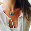 Big chest necklace CCB Bead Necklace Turquoise Teardrop Necklace For Women Sexy  Charm Necklace gift XL114