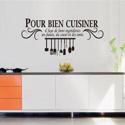 Cuisine française vinyle mur autocollant Pour bien la vaisselle mur peinture applique papier peint art cuisine tuile décoration de la maison DW0638