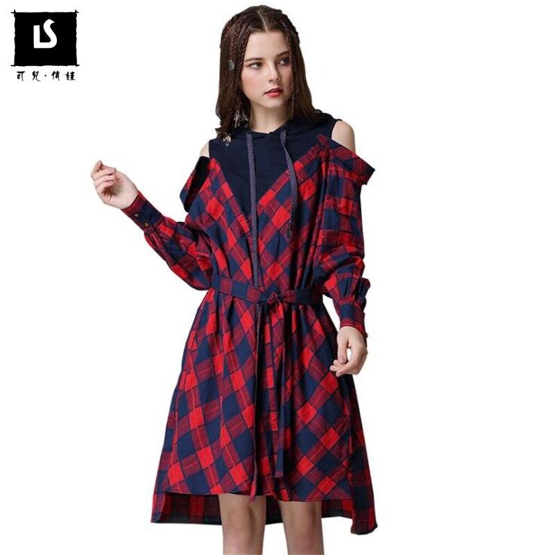 Printemps automne femmes robes Vintage Plaid coton lâche Sexy hors épaule robes à capuche faux 2 pièces Patchwork robe Vestidos