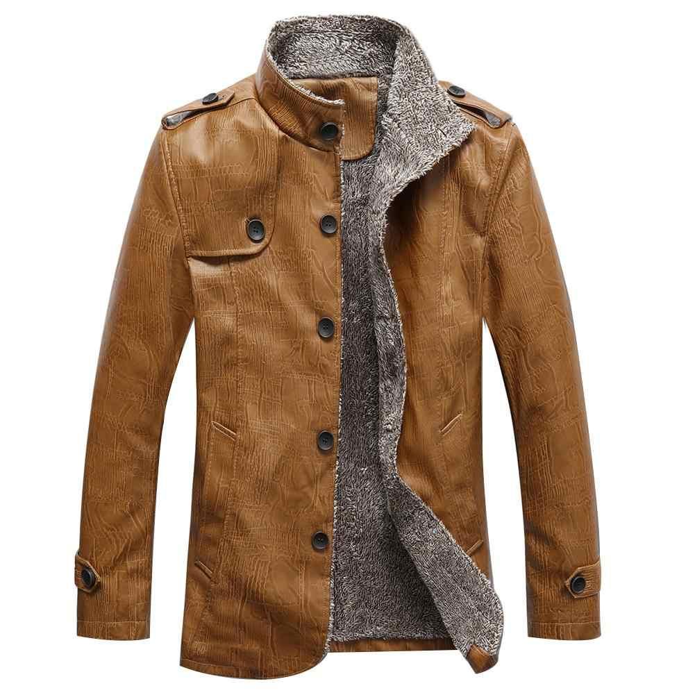Hiver hommes couleur unie Faux cuir polaire doublé veste Turn Down col manteau livraison gratuite