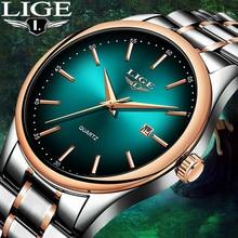 LIGE Fashion Brand Quartz Luxury Waterproof Watch Men rose gold green Dial Stainless Steel Strap Mens Watches Date reloj hombre недорго, оригинальная цена